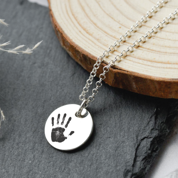 Sterling Silver Large Disc Pendant Necklace with Engraved Print