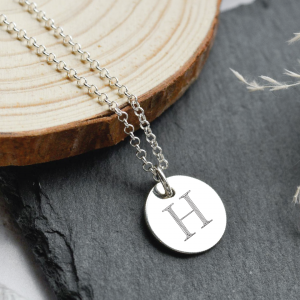 Sterling Silver Large Disc Pendant Necklace with Engraved Initial