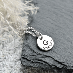 Sterling Silver Medium Disc Pendant Necklace with Engraved Initial & Date
