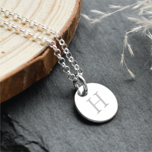 Sterling Silver Medium Disc Pendant Necklace with Engraved Initial