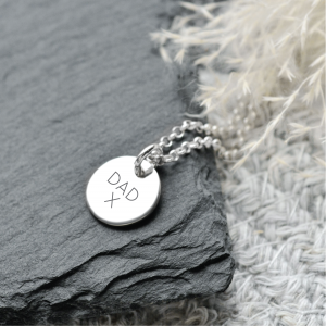 Engraved Sterling Silver Medium Disc Pendant Necklace