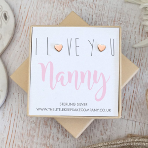 Rose Gold Vermeil Quote Earrings - 'I Love You Nanny'