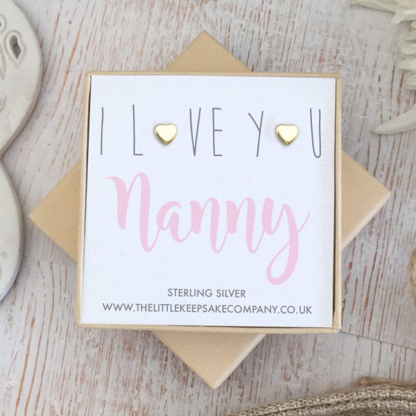 Yellow Gold Vermeil Quote Earrings - 'I Love You Nanny'