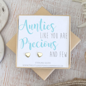Yellow Gold Vermeil Quote Earrings - 'Aunties Like You Are Precious And Few'