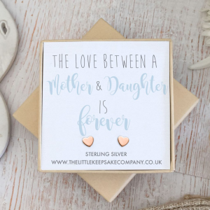 Rose Gold Vermeil Heart Quote Earrings - 'The Love Between A Mother & Daughter Is Forever'