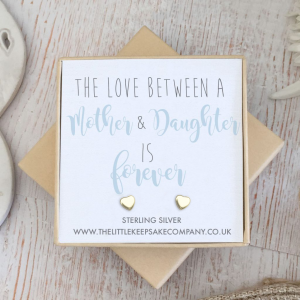 Yellow Gold Vermeil Heart Quote Earrings - 'The Love Between A Mother & Daughter Is Forever'