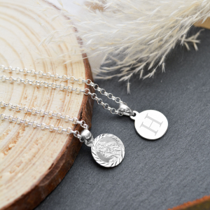 Sterling Silver Mini St Christopher's Necklace with Engraved Initial