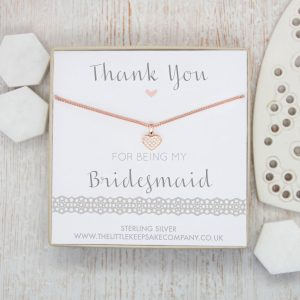 Rose Gold Vermeil & Pavé CZ Necklace - 'Thank You For Being My Bridesmaid'