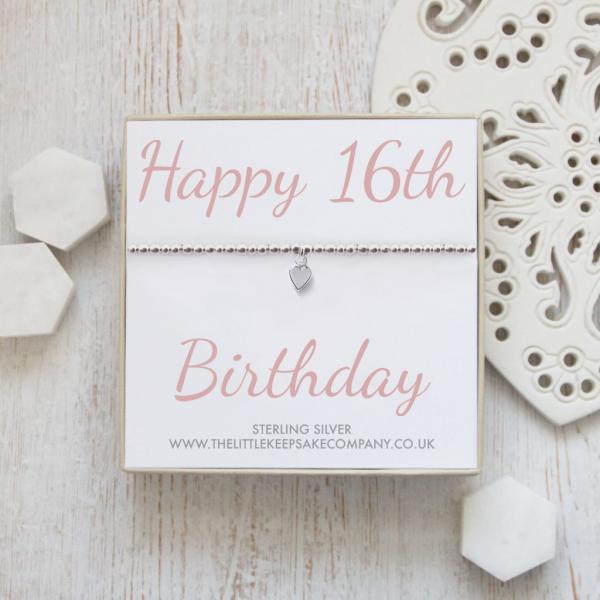 Sterling Silver Ball Slider Heart Bracelet - 'Happy 16th Birthday'