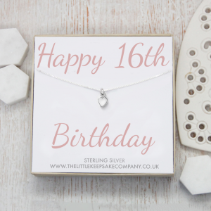 Sterling Silver Quote Necklace - 'Happy 16th Birthday'