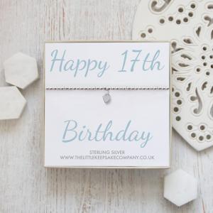 Sterling Silver Ball Slider Heart Bracelet - 'Happy 17th Birthday'