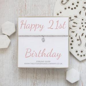 Sterling Silver Ball Slider Heart Bracelet - 'Happy 21st Birthday'
