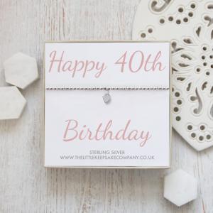 Sterling Silver Ball Slider Heart Bracelet - 'Happy 40th Birthday'
