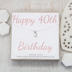 Sterling Silver Quote Necklace - 'Happy 40th Birthday'