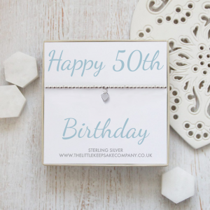 Sterling Silver Ball Slider Heart Bracelet - 'Happy 50th Birthday'