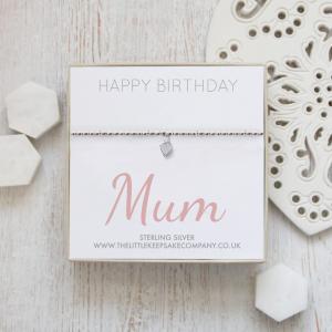 Sterling Silver Ball Slider Heart Bracelet - 'Happy Birthday Mum'