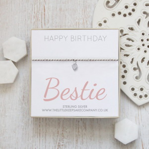 Sterling Silver Ball Slider Heart Bracelet - 'Happy Birthday Bestie'