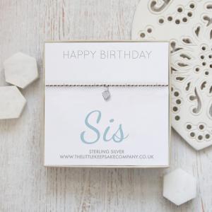 Sterling Silver Ball Slider Heart Bracelet - 'Happy Birthday Sis'