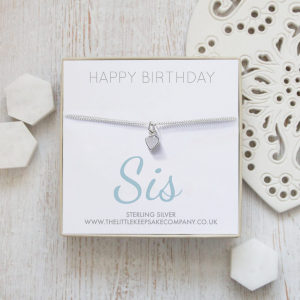 Sterling Silver Quote Bracelet - 'Happy Birthday Sis'