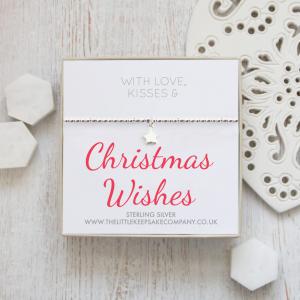Sterling Silver Star Slider Bracelet - 'With Love, Kisses & Christmas Wishes'