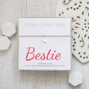 Sterling Silver Star Slider Bracelet - 'Merry Christmas Bestie'