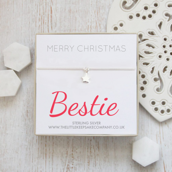 Sterling Silver Star Quote Bracelet – 'Merry Christmas Bestie'