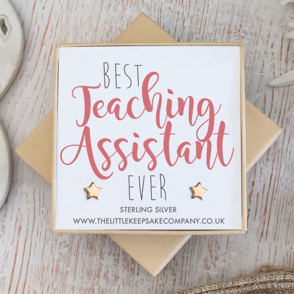 Rose Gold Vermeil Star Quote Earrings - 'Best Teaching Assistant Ever'