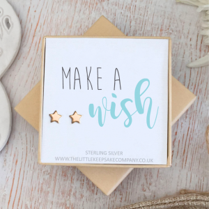 Rose Gold Vermeil Star Quote Earrings - 'Make A Wish'