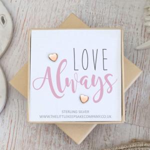 Rose Gold Vermeil Quote Earrings - 'Love Always'