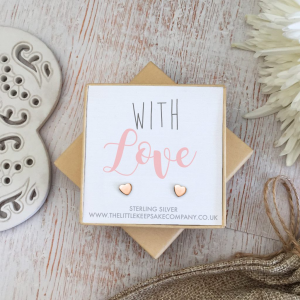 Rose Gold Vermeil Quote Earrings - 'With Love'