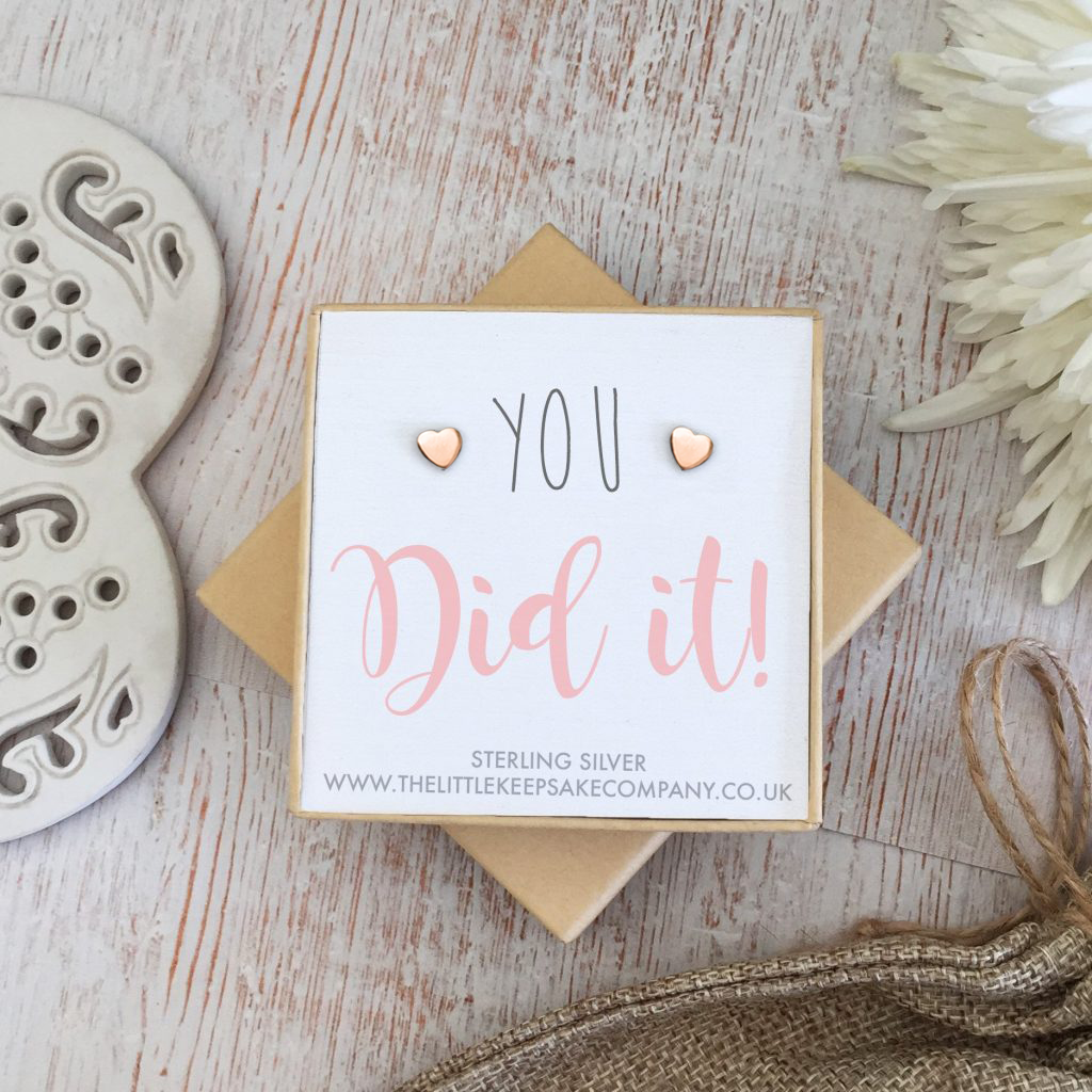 Rose Gold Vermeil Quote Earrings - 'You Did It!'