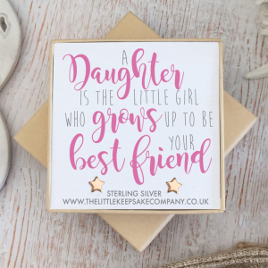 Rose Gold Vermeil Star Quote Earrings - 'A Daughter Is The Little Girl'
