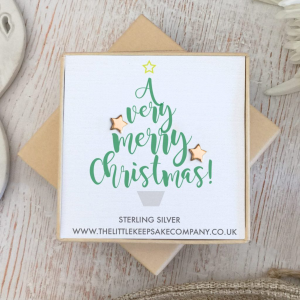 Rose Gold Vermeil Christmas Earrings - 'A Very Merry Christmas!'