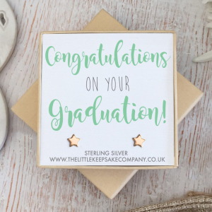 Rose Gold Vermeil Quote Earrings - 'Congratulations On Your Graduation'