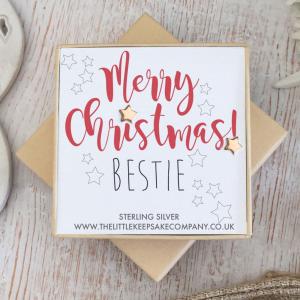 Rose Gold Vermeil Christmas Earrings - 'Merry Christmas! Bestie'