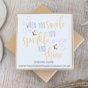 Rose Gold Vermeil Quote Earrings - 'When You Smile, You Sparkle & Shine'