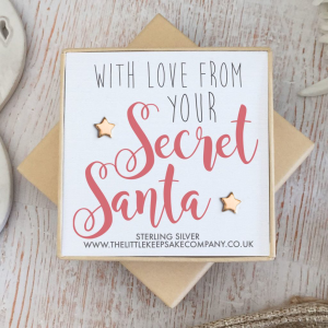 Rose Gold Vermeil Christmas Earrings - 'With Love From Your Secret Santa'