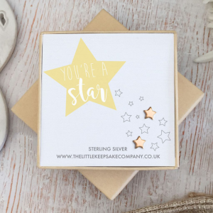 e Gold Vermeil Quote Earrings - 'You're A Star'