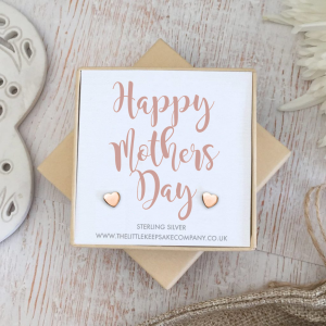 Rose Gold Vermeil 'Happy Mothers Day' Quote Earrings