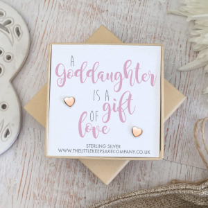 Rose Gold Vermeil Quote Earrings - 'A Goddaughter Is A Gift Of Love'