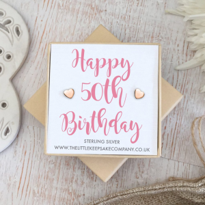 Rose Gold Vermeil 'Happy 50th Birthday' Quote Earrings