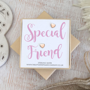 Rose Gold Vermeil Quote Earrings - 'Special Friend'