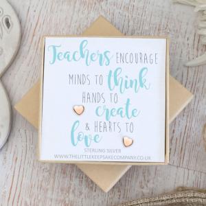 Rose Gold Vermeil Quote Earrings - 'Teachers Encourage'