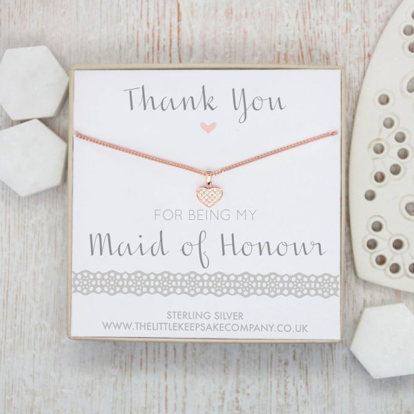 Rose Gold Vermeil & Pavé CZ Necklace - 'Thank You For Being My Maid Of Honour'