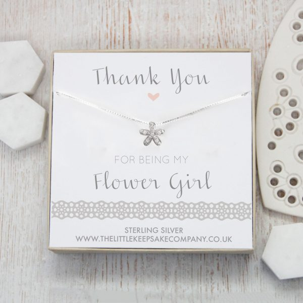 Sterling Silver & CZ Flower Necklace - 'Thank You For Being My Flower Girl'