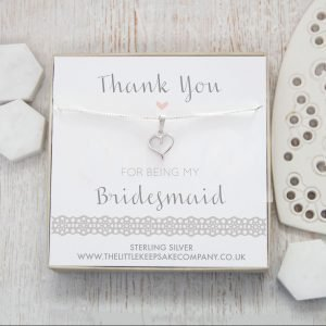 Sterling Silver Cut Out Heart Necklace - 'Thank You For Being My Bridesmaid'