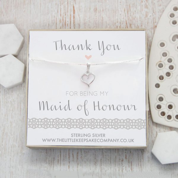 Sterling Silver Cut Out Heart Necklace - 'Thank You For Being My Maid Of Honour'