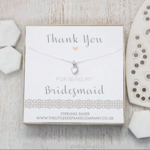 Sterling Silver Heart Necklace - 'Thank You For Being My Bridesmaid'