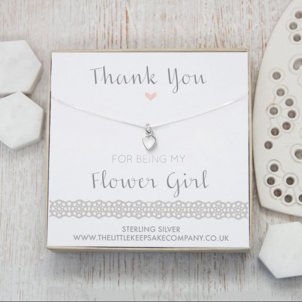 Sterling Silver Heart Necklace - 'Thank You For Being My Flower Girl'
