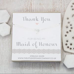 Sterling Silver & CZ Necklace - 'Thank You For Being My Maid Of Honour'